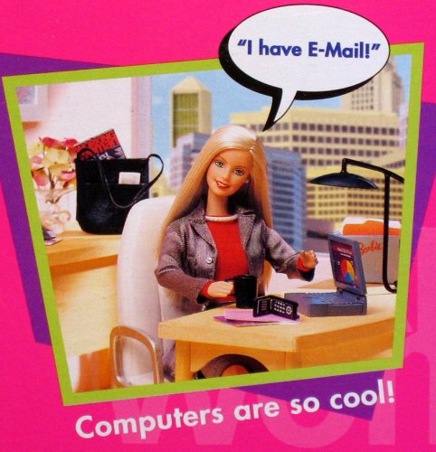 """parislemon :      heyveronica :     """"women in tech""""     Barbie is clearly new at this."""
