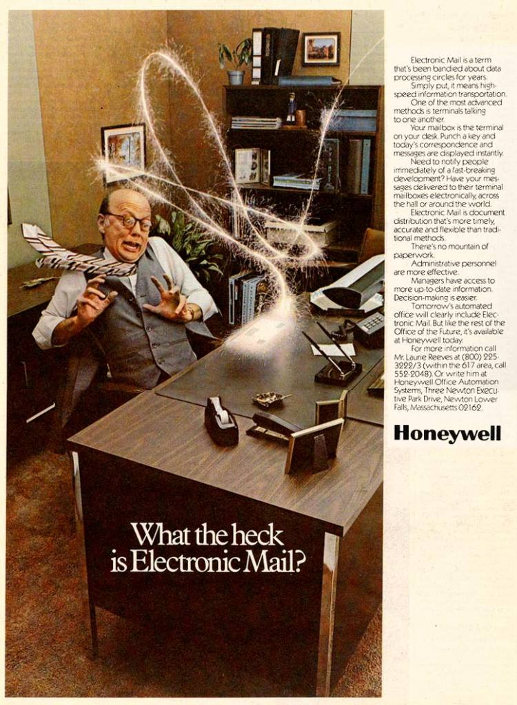 """parislemon :      courtenaybird :      1977: """"What the Heck is Electronic Mail?""""      How I feel still to this day."""