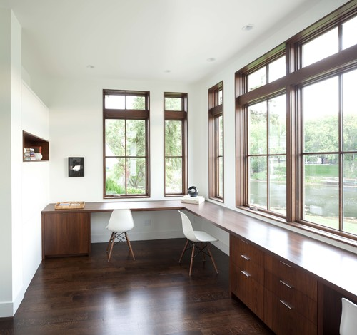 minimaldesks :     Nice and simple integrated workspace featuring expansive windows and a view.