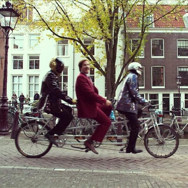 digg :      shortformblog :      Daft Punk + Ron Burgundy + tandem bicycles =  this image .      :')