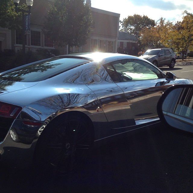 Oh you know just taking my chrome r8 out for a spin. #r8 #audi