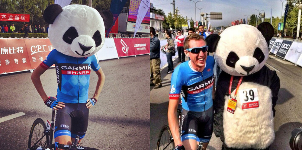 cyclocosm :     I suppose this was inevitable at the Tour of Beijing   (via  Alain Rumpf ,  TatiCycles ;  panda gif ,  how they got to the panda )
