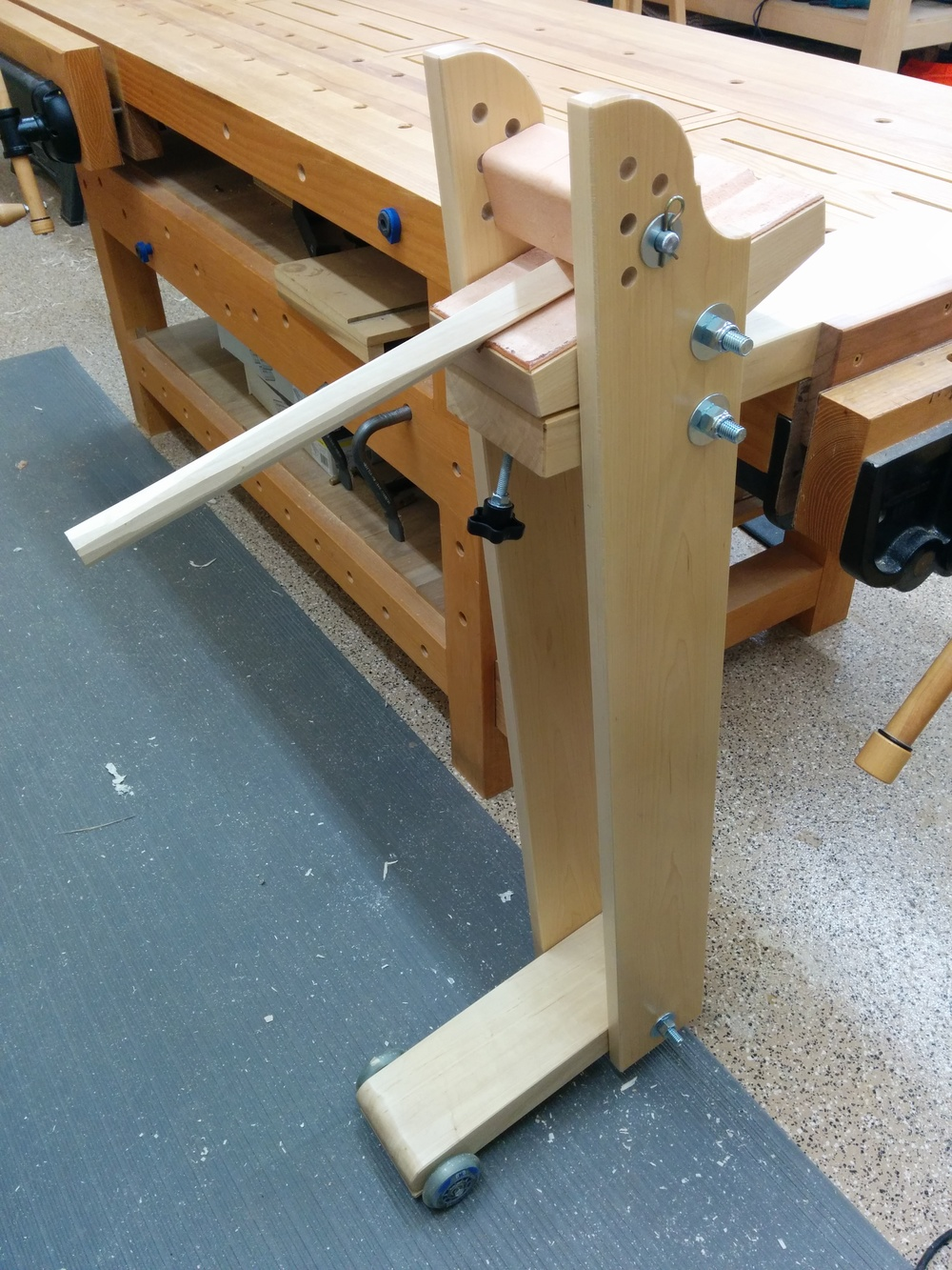 Here is the Shaving Post fully assembled. The mounting options are endless. Here it is mounted in my end vise, but with very little modification it could be mounted perpendicular to the vise or just clamped to a bench top with holdfasts.