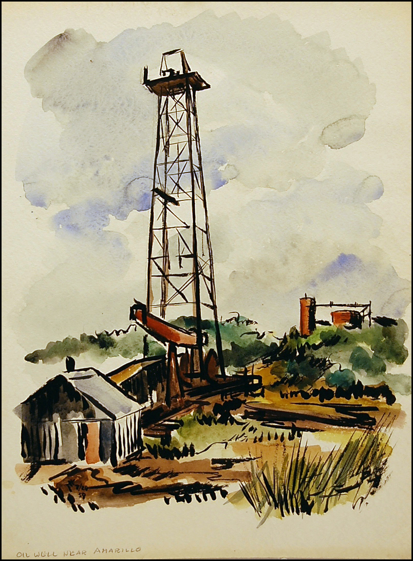 Oil Rig - Amarillo TX    16 x 20   watercolor
