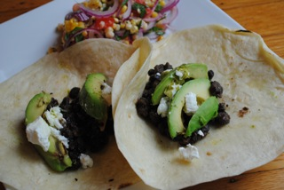 Black bean vocado goat cheese tacos