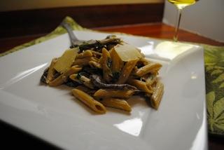 Mushroom goat cheese pasta