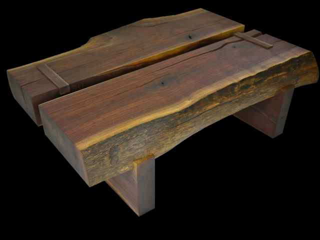 walnut timber coffee tables pair