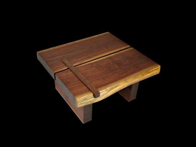 two slab walnut coffee table