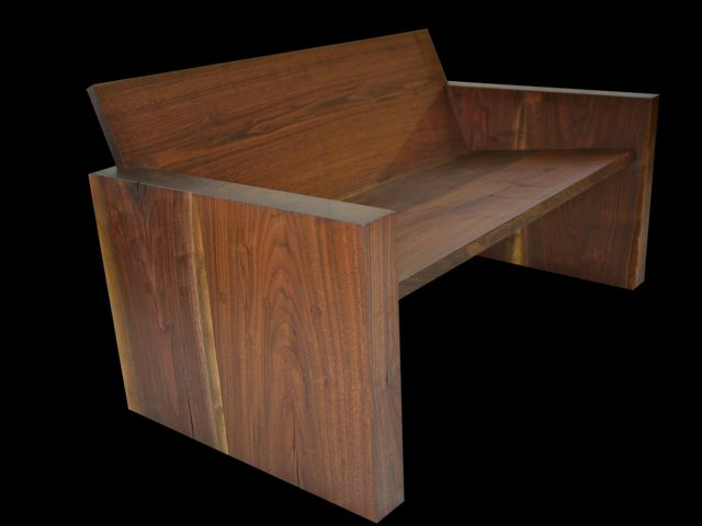 solid walnut love seat