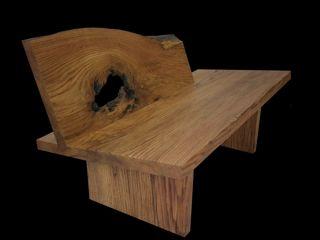 modern organic oak slab bench
