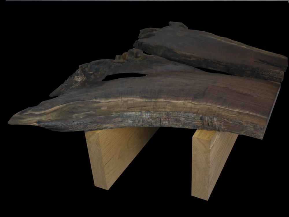 oak & walnut root coffee table