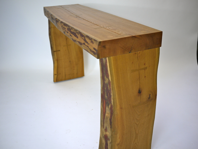 rustic sassafras console table
