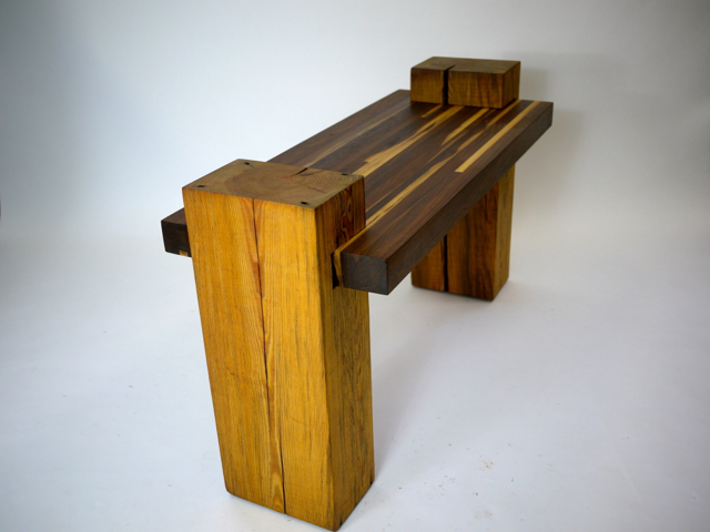 Heart Pine and Walnut table