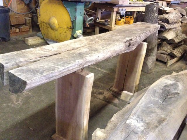 walnut log console table perhaps