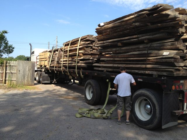walnut slabs on truck