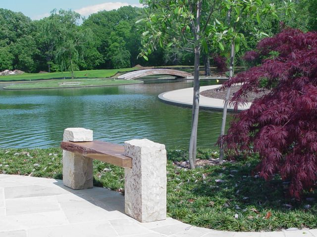 Hand-made one-of-a-kind bench, natural edge sassafras with Tishomingo sandstone legs