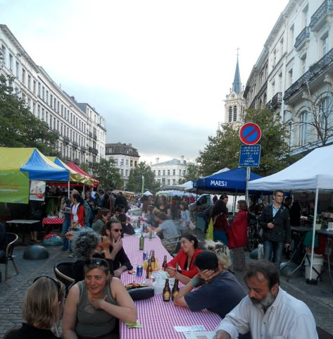 open air market on Saint-Gilles church square