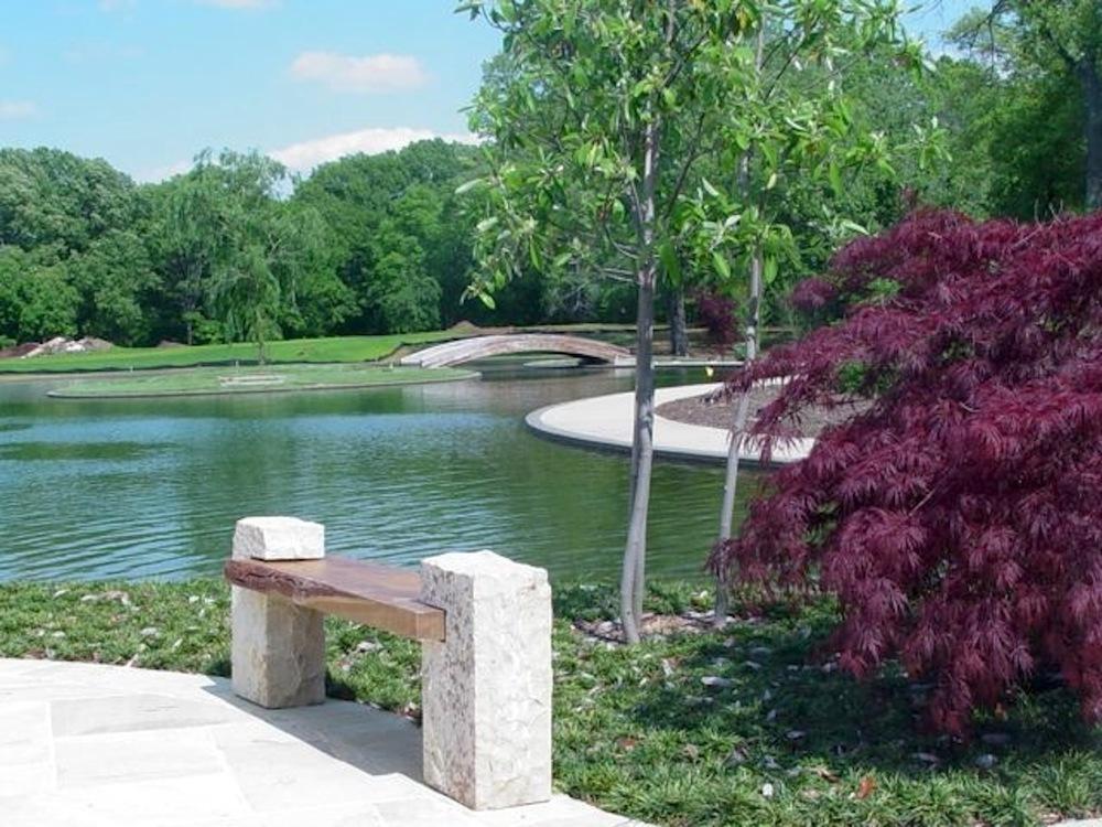 Modern sassafras and sandstone outdoor bench