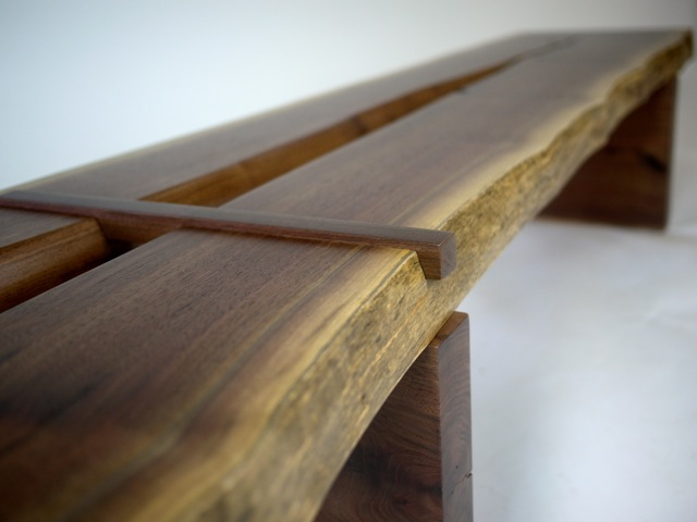 split solid walnut bench with dimensional joinery full view