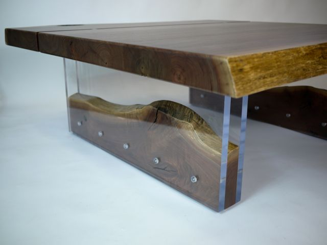Walnut and acrylic coffee table