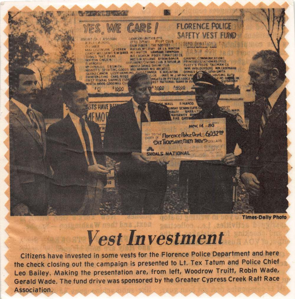 1980 Fund Raising for bullet proof vest for local Police Department.