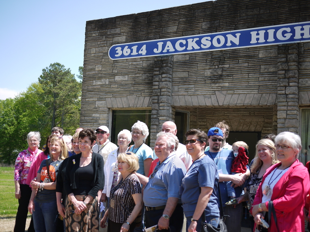 "Tour leader and lead Swampette - Judy Hood in black, Georgia Carter proudly sporting her new Billy Reid ""Mustache"" blue T-shirt also on the front row of historic 3614 Jackson Highway - aka Muscle Shoals Sound Studios."