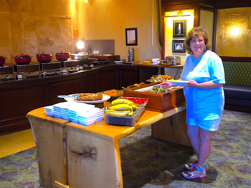 Beautiful breakfast bar displayed each morning on another beautiful table made from a local Shoals tree.