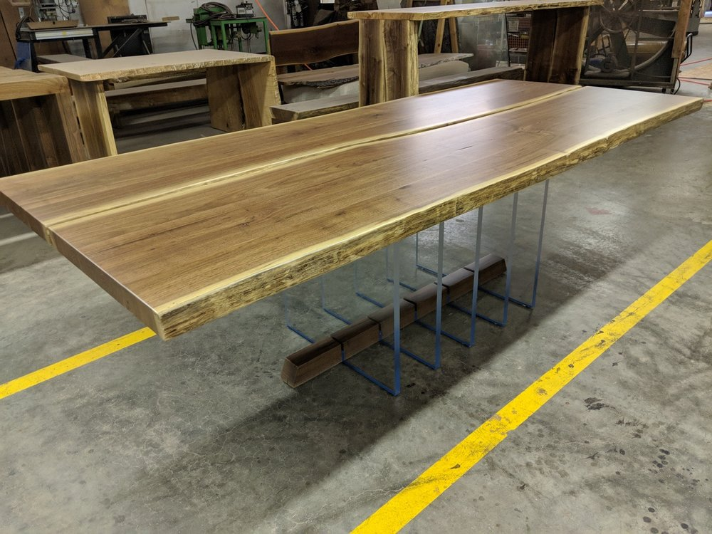 Walnut Dining Acrylic Fow Hint Of Blue0005