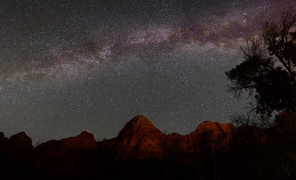 The Great Rift can clearly be seen above the red stone of Zion. This image is a six shot panorama taken in the early morning hours on our last day in Utah. I chased this shot for nearly 18 months, and I can't begin to explain what it was like to see these images finally come across the back of my camera's LCD screen.