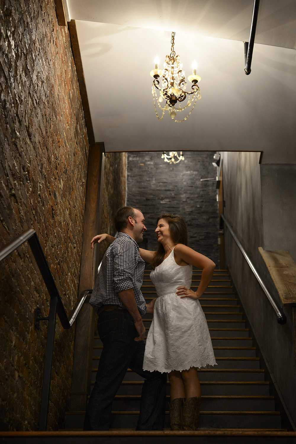 Hannah-Waylon-Downtown-Franklin-Grays-Stairs-Engagement