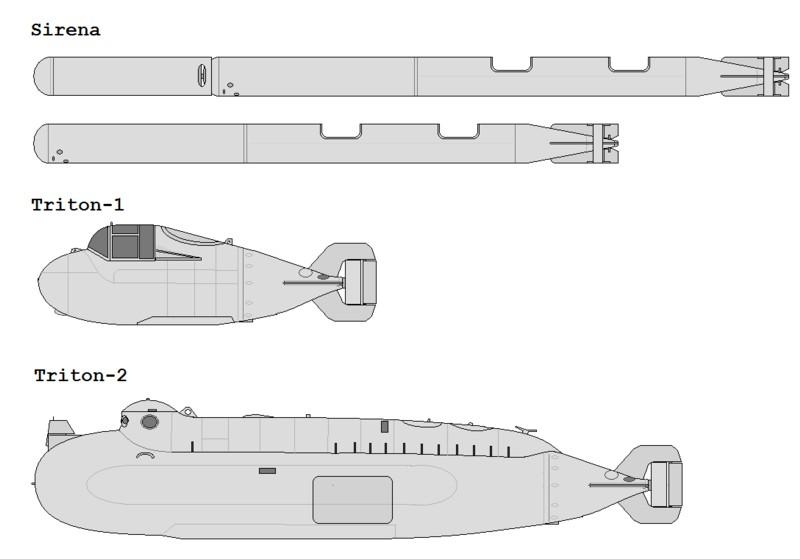 I en marin spetznazbrigad ingick en miniubåtsbataljon med bla dykarfarkoster som Sirena, Triton 1 och Triton 2. Källa: covertshores.blogspot.se/2010/08/russian-soviet-sf-underwater-craft.htm