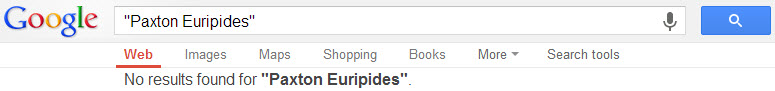 "Google search box for ""Paxton Euripides"""