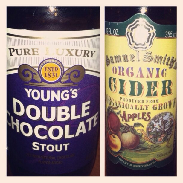 Young's Double Chocolate Stout y Samuel Smith's Organic Cider vía @omy_rmz en Instagram