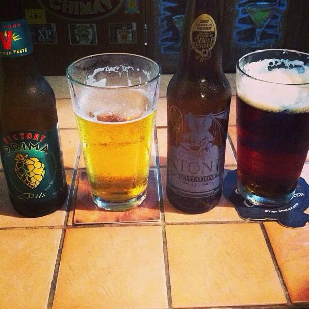 Victory Prima Pils y Stone Levitation Ale vía @ashi274 en Instagram