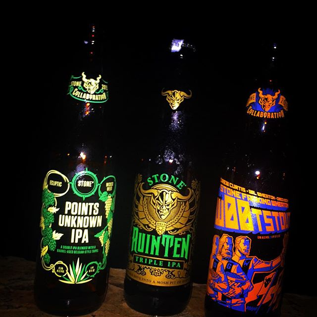 Stone Points Unknown IPA, RuinTen Triple IPA y Wootstout vía @justlissy en Instagram