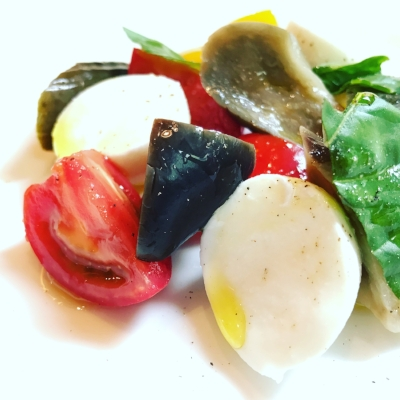 Mozzarella, aubergine, tomato and basil salad