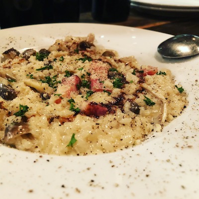 Bacon cream and mushroom risotto