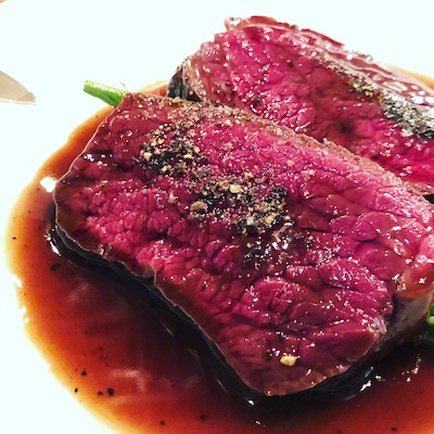 Roast venison in bordelaise sauce
