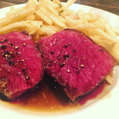 Roast black hair wagyu with fries