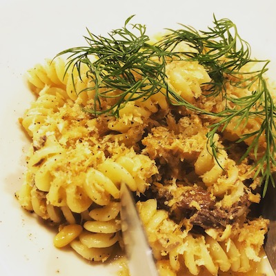 Sicilian style mackerel ragout pasta