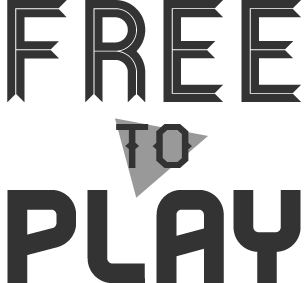 Free to Play logo. 'Free' is a bit ribbony, 'Play' looks a bit video game-ish, and there's a triangle sort of play button behind the 'to.'