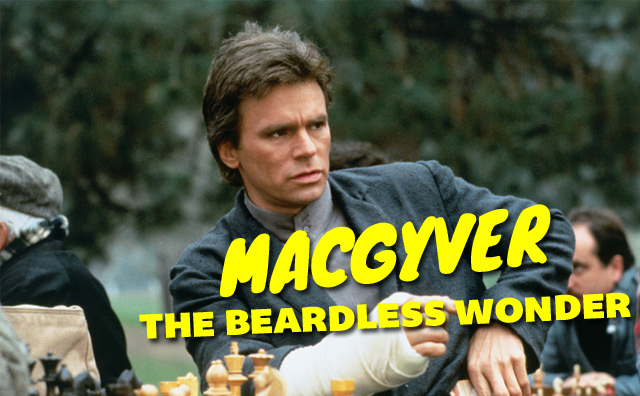 A screen grab from an episode of Macgyver. He's playing chess and has a cast on his arm. There's text over the image that says 'MACGYVER THE BEARDLESS WONDER.'