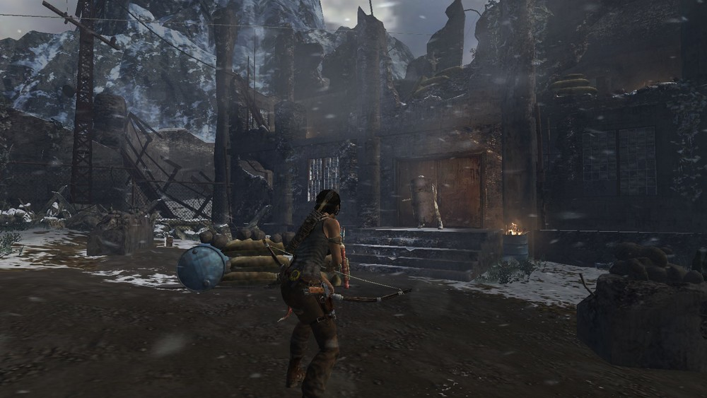 Press SHIFT to tomb raider-dodge and then use your tomb raiding shotgun to shoot that anti-tomb raiding unit