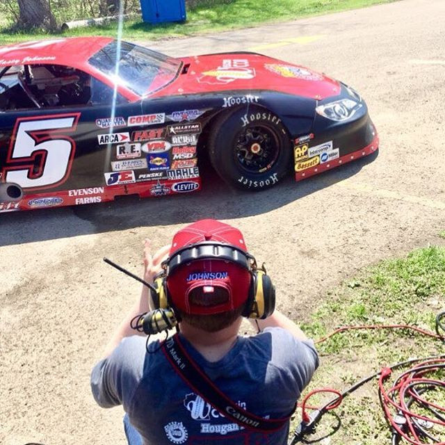 TJ's son Tyler shooting photos during practice for the ARCA Midwest Tour Joe Shear Classic.