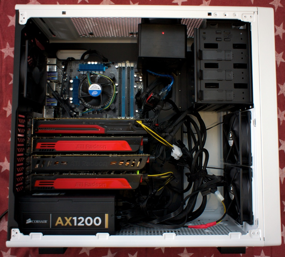 Corsair C70, Asus P8C WS, Celeron G550, 7970, 3x 5850 + BFL SHA256 Single. Corsair AX 1200.