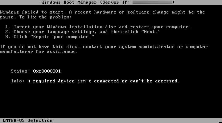 "Boot failure right after boot.sdi message. Error 0xc0000001. ""A required device isn't connected or can't be accessed."""