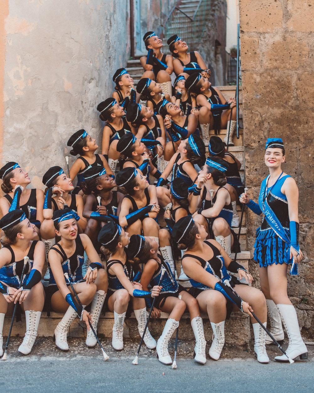 The Majorettes Diamond Pomezia team posing for a photographer in Faleria, province of Viterbo.