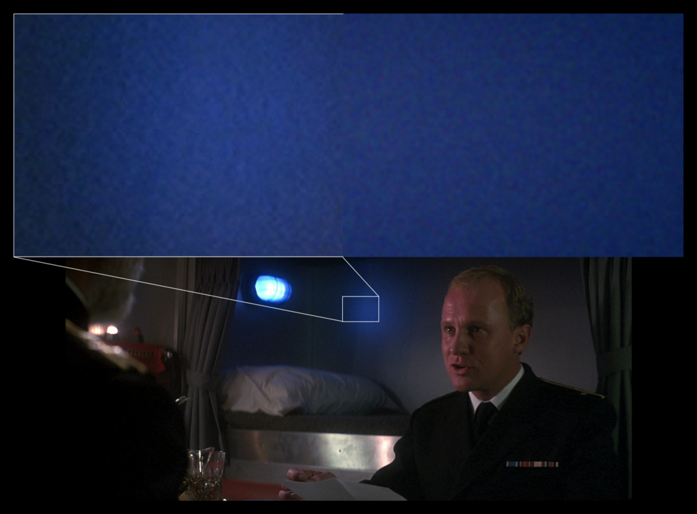 Example of real film grain taken from a Blu-Ray (left) and grain generated by my film grain algorithm (right). When viewing an entire frame at normal distances, the two textures are indistinguishable.  The Hunt for Red October , 1990.