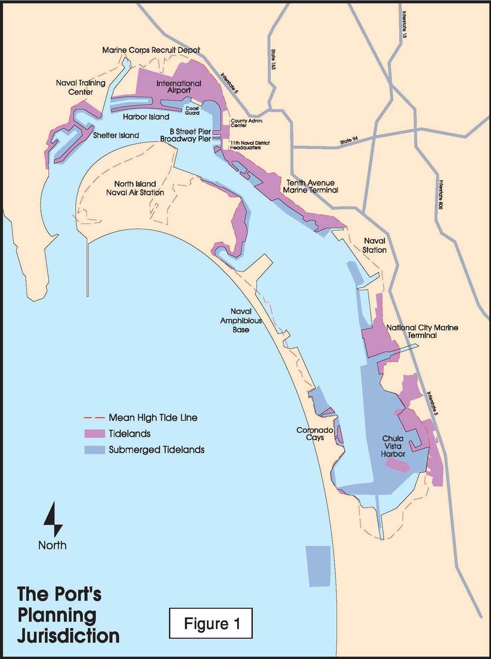 The Port of San Diego's 50-year projected sea rise map via  Voice of San Diego