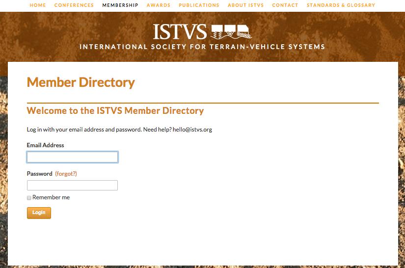 Member login page for Member Directory